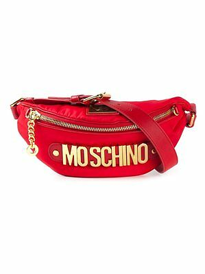SS16 Moschino Couture X Jeremy Scott Red Fanny Pack Gold Logo MADE IN HEAVEN