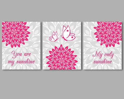 3 prints, art for baby girl nursery - You are my sunshine quote, pink flowers