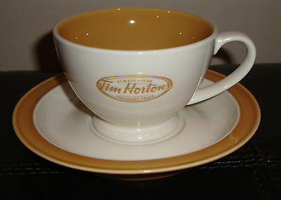 New  Tim Horton's Tea Coffee Cup And Saucer Set Beige Always Fresh Canada 2006