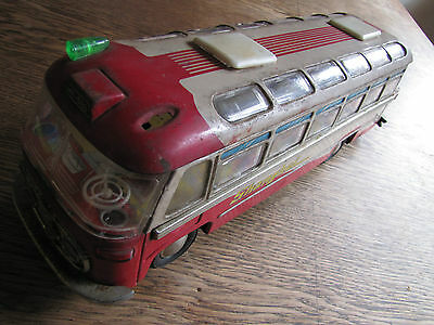 Bus Shanghai reproduction tin battery operated tinplate vintage China 1970's