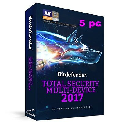Bitdefender Total Security 2017  per 5 PC - MAC -  Android Licenza ESD