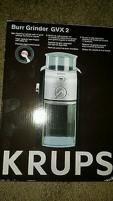 KRUPS GVX212 GVX2 Coffee Grinder Size Cup Selection Stainless Burr Grinder NEW