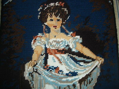 HAND DONE NEEDLEPOINT TAPESTRY COMPLETED WOOL FRENCH old fashioned girl SCENE