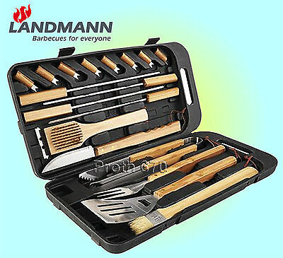 Landmann Barbecue Grill Accessories Tool Set with Plastic Case Stainless Steel