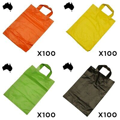 100 x COLOURED Plastic Flexi Loop Handle Bag With CARRY HANDLES Show Bags COLOUR
