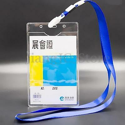 50x Clear Plastic Vertical Pouch Wallet ID Security Pass Holder Ticket Pocket