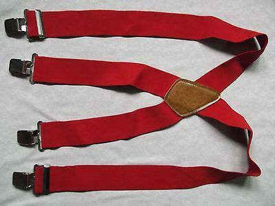 VINTAGE RED BRACES HEAVY DUTY RETRO 1980s 1990s WIDE STYLE CHUNKY STOCKBROKER