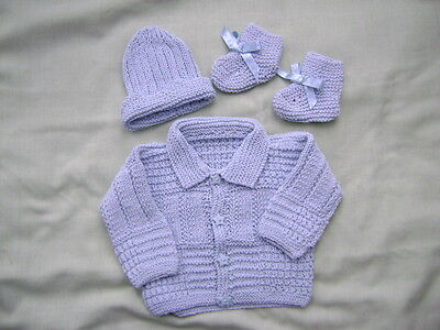 New Hand Knitted Blue Matinee Jacket ,Bootees and Hat Set 0/3 months