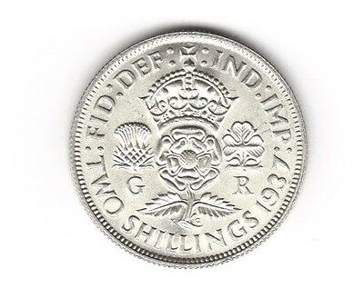 1937 George VI Unc. Florin - Two Shilling coin.  Ref 2/1