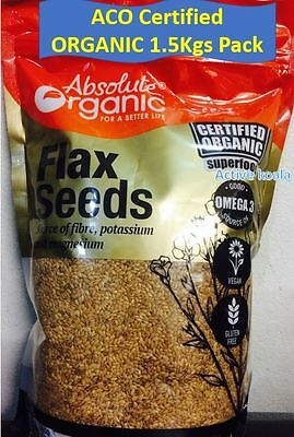 Absolute Organic Gold Flaxseeds Linseed Certified Flax Seed 1.5 kg - Flax seeds