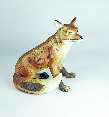 Vintage ceramic fox china ornament figurine matte finish sitting hunting