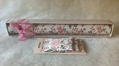 5 Rose Scented Drawer Liner Sheets Gift Box & 3 Matching Sachets Valentines Gift