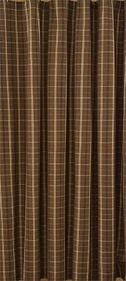 Shower Curtain 72X72 Country Plaid Brown Tan Black Tanner 100% Cotton