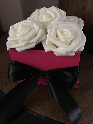 Ivory/cream Faux Flower Roses in Pink Gift Box with Bow, Valentines Artificial