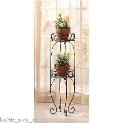 "New Two Shelf Indoor Outdoor Metal PLANT STAND 28"" Green Flower Pot Display"