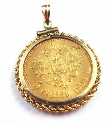 Five Rouble Gold Original Russian Imperial Ruble Bezel Russia Antique Pendant Nr