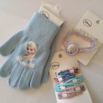 NWT Girl's Sz: 3Y+, 1Disney Princess Bracelet ,3 pairs hair clips ,gloves(4-8Y),