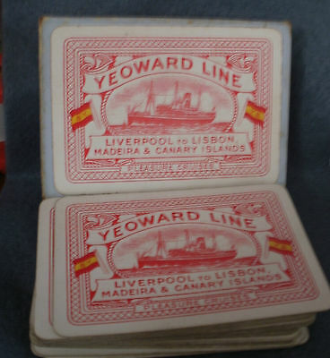 Vintage Yeoward Line Shipping Playing Cards Cruise Ship Liner Art Deco 1930s