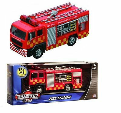 Fire Engine Teamsterz Die Cast Emergency Toy Kids Truck Vehicle Lights Sounds