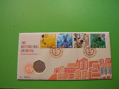 1998 NOTTING HILL CARNIVAL FDC WITH EU 50p FIFTY PENCE BU PNC COIN COVER