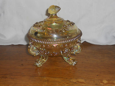 VINTAGE WESTMORELAND ARGONAUT SHELL w/ DOLPHIN FEET CANDY IN Yellow CARNIVAL