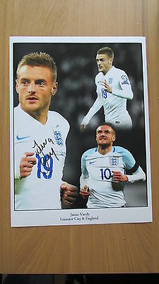 "Signed "" JAMIE VARDY - ENGLAND "" LARGE 16"" x 12"" Montage (WITH COA)"