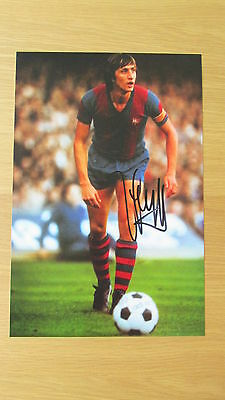 "Signed "" JOHAN CRUYFF - BARCELONA LEGEND "" 12"" x 8"" photograph (PROOF & COA)"