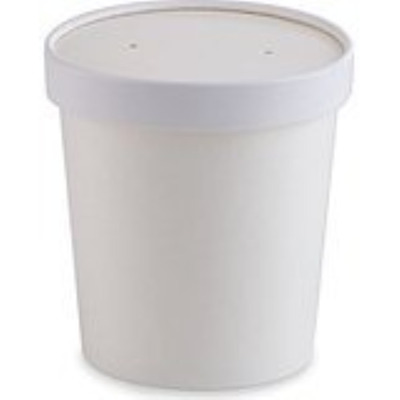 COMFY PACKAGE 32 oz. [Quart] Double-Wall Poly White Paper Soup / Hot Food Ice...