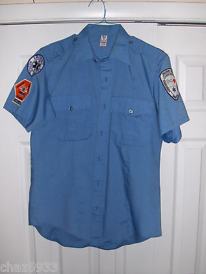 Vintage Emt Ambulance Blue Shirt With Patches