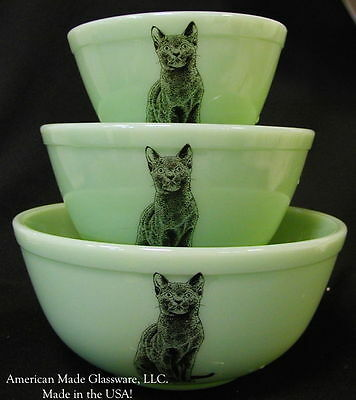 Set 3 Jade Jadeite Green Glass Stackable Mixing Nesting Bowls Black Cats Rosso