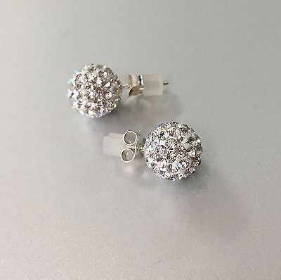 REAL!925 Sterling Silver 10mm Swarovski Crystal Pave Disco Ball Stud Earrings