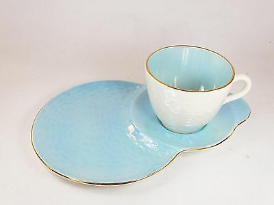Vintage Maling ceramic Lustre TV tennis cup and saucer set blue china