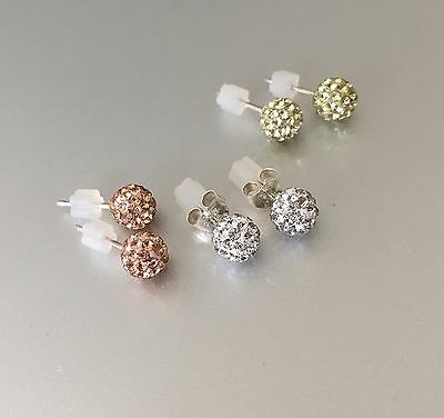 Set 3~REAL! Sterling Silver 6mm Swarovski Crystal Pave Disco Ball Stud Earrings