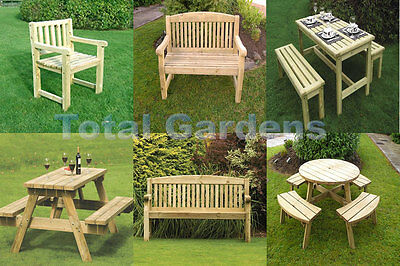 Athol Garden Furniture Chunky Wooden Bench A-Frame Pub Bench Round Picnic Bench