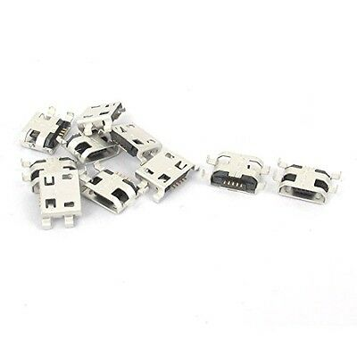 uxcell 10 Pcs Type B Micro USB 5 Pin Female Charger Mount Jack Connector Port