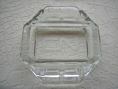 Old Canadian National Railway Crystal Clear Ashtray Without Damage