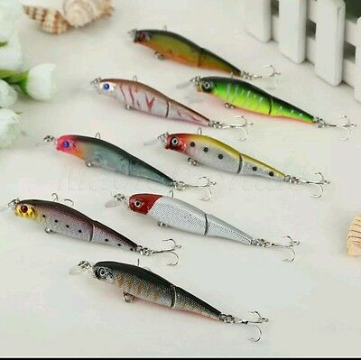 8 Jointed Minnow Fishing Lure Rattling Spinning Crankbait Hook  pike bass perch