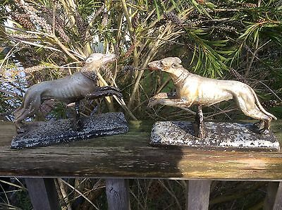 Pair shelter Whippets greyhound cold painted Art Deco original ASCO England