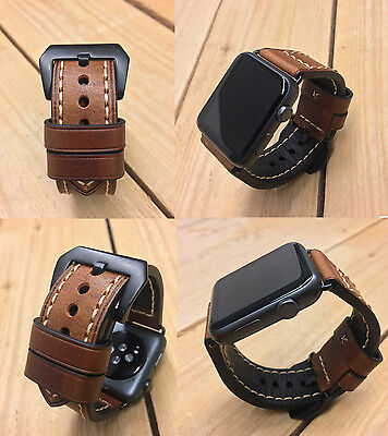 Brown Leather Watch Strap Band + Black Fixings for Apple Watch Series 1 2 42mm