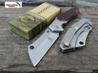 "8"" TACTICAL Spring Assisted Open Pocket Knife CLEAVER WOOD Black/ Red FOLDING"