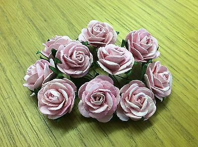 10 BABY PINK ROSE (2.5cm) Mulberry Paper Flowers wedding crafts card