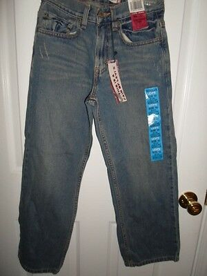 LEVIS STRAUSS BOYS GIRLS 569 DISTRESSED BLUE JEANS LOOSE STRAIGHT SZ 10 25x25