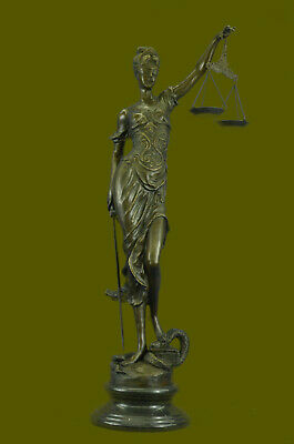 Art Deco Lost Wax Extra Large Blind Justice Lawyer Judge Bronze Sculpture Statue