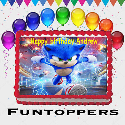 Sonic the Hedgehog Running Edible Cake Topper Frosting 1//2 Sheet Birthday Party
