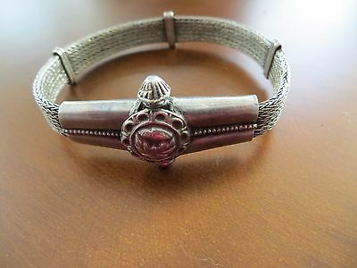 Old Antique Ethnic Tribal Indian Rajasthan Sterling Hand Crafted bracelet 7""