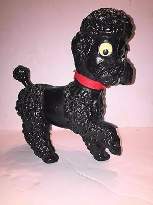 Poodle  Squeak  Toy  Black  With Red Collar  Movable  Eyes  Vintage  Italy !