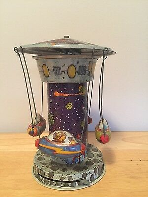 Vintage Schillying Rocket Ride Wind Up Spinning Carousel Tin Lithograph Space
