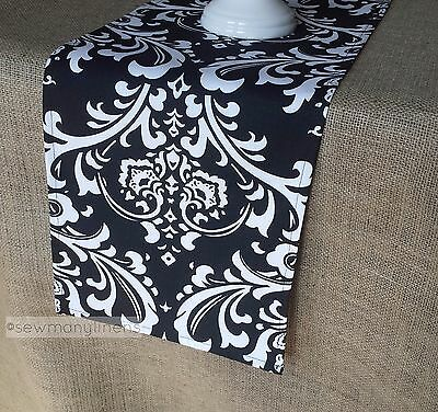 Black and White Table Runner Floral Wedding Table Centerpiece Dining Room Linens