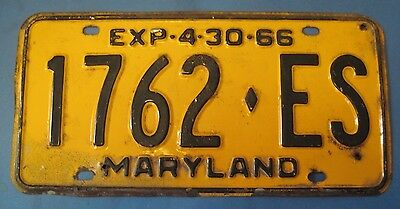 1966 Maryland License Plate