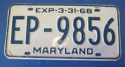 1968 Maryland License Plate